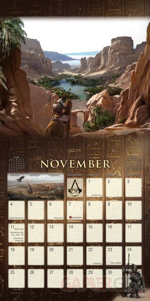 Assassins Creed Origins calendrier 2018 3 13 07 2017