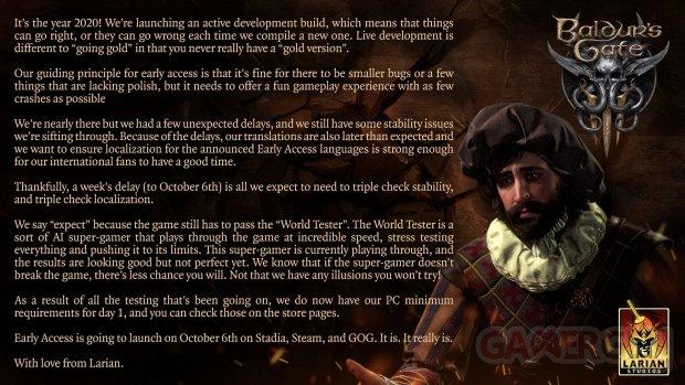 Baldur's Gate 3 Report 6 Octobre