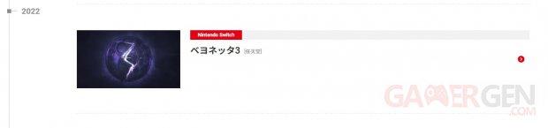 Bayonetta 3 fuite Nintendo 23 09 2021