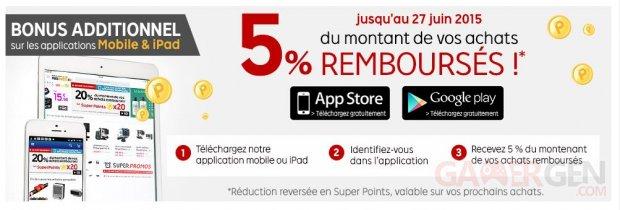 bonus 5 super points pricepinister mobile juin 2015