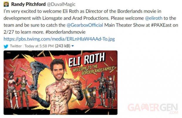 Borderlands Eli Roth leak