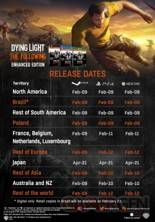 Calendrier Dying Light