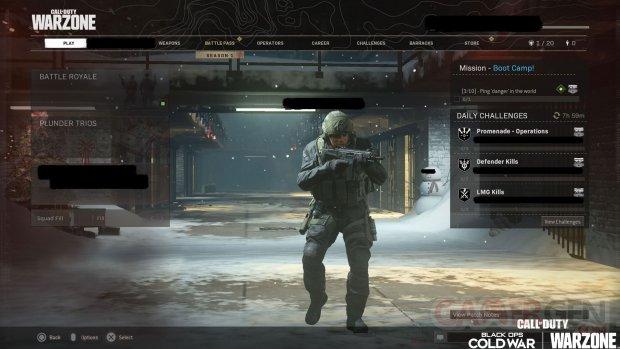 Call of Duty Black Ops Cold War Warzone 10 12 2020 menu 1