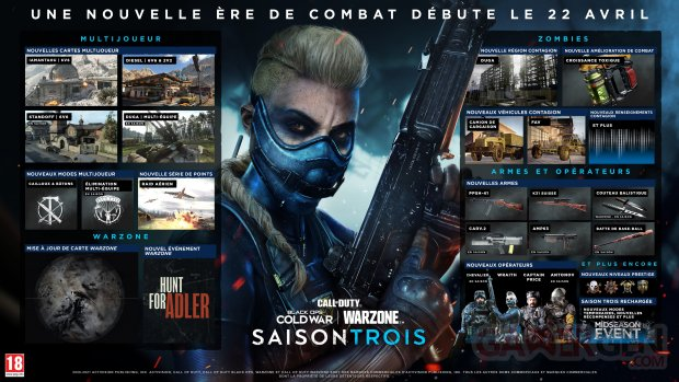 Call of Duty Black Ops Cold War Warzone 19 04 2021 Saison 3 roadmap FR