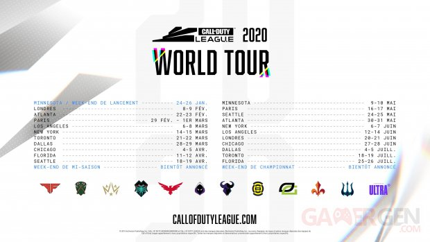 Call of Duty League World Tour 2020 calendrier planning