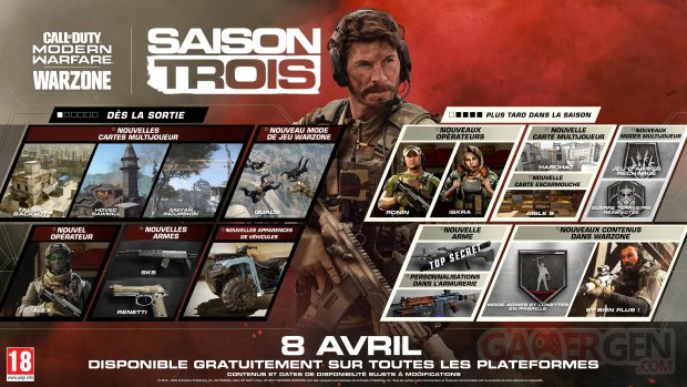 Call of Duty Modern Warfare Saison 3 trois planning calendrier