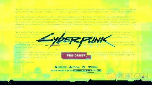 Cyberpunk 2077 message caché trailer lancement DLC gratuits extensions