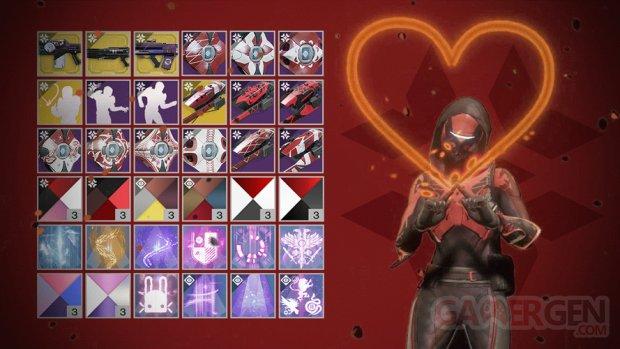 Destiny 2 Jours Garance table loot récompense emote coeur