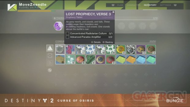 Destiny 2 La Malédiction d'Osiris COO livestream2 Verset 3 inventaire