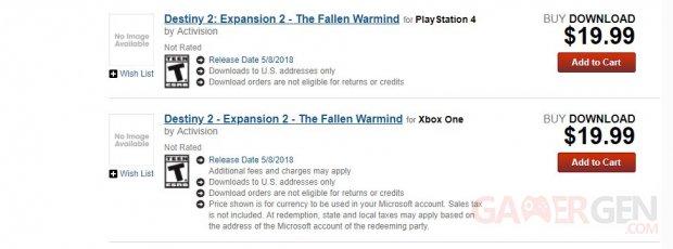 Destiny 2 leak GameStop The Fallen Warmind 01 09 03 2018