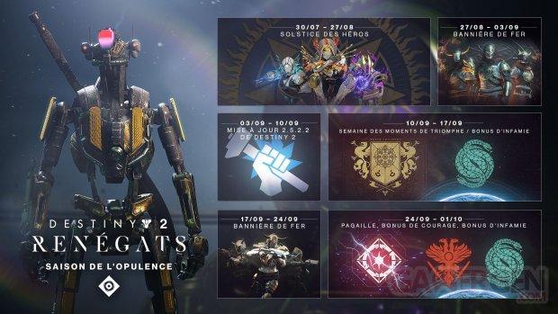 Calendrier Destiny 2.Destiny 2 Renegats Le Planning De La Fin De La Saison De