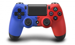 DualShock 4 20 08 2013 manette bleue rouge head