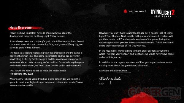 Dying Light 2 Stay Human 14 09 2021 date de sortie report