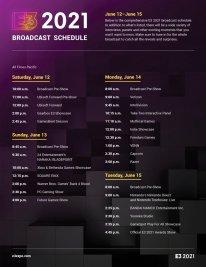 E3 2021 Broadcast Schedule programme diffusion officiel