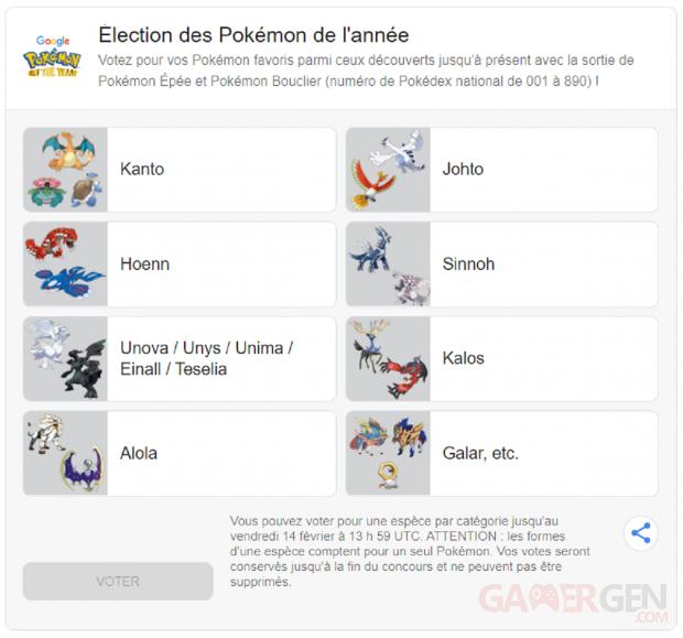 Élection des Pokémon de l'année pic Google