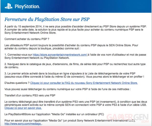 Email fermeture PSN PSP