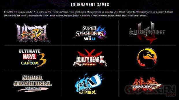 evo 2015 line up jeux tournoi