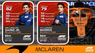 F1 2020 Driver Ratings notes pilotes McLaren
