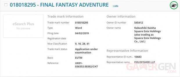 Final Fantasy Adventure dépôt marque 05 02 2019