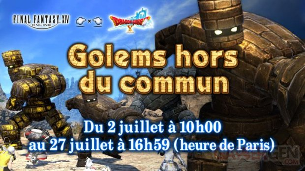 Final Fantasy XIV FFXIV évènement collaboratif Dragon Quest X Golem hors du commun 01 02 07 2020