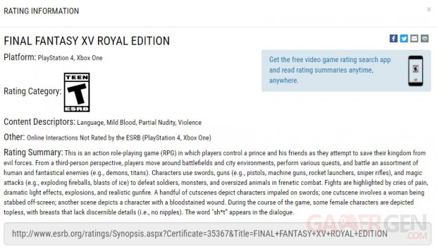 Final Fantasy XV Royal Edition 08 01 2018 ESRB