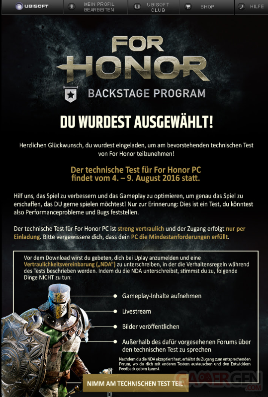 For Honor Alpha Allemand
