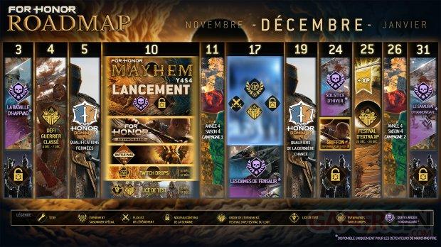 For Honor Mayhem saison 4 année 4 roadmap