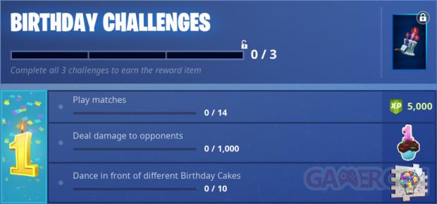 Fortnite anniversaire birthday challenges