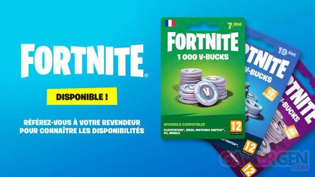 Fortnite Carte V Bucks France prix Micromania