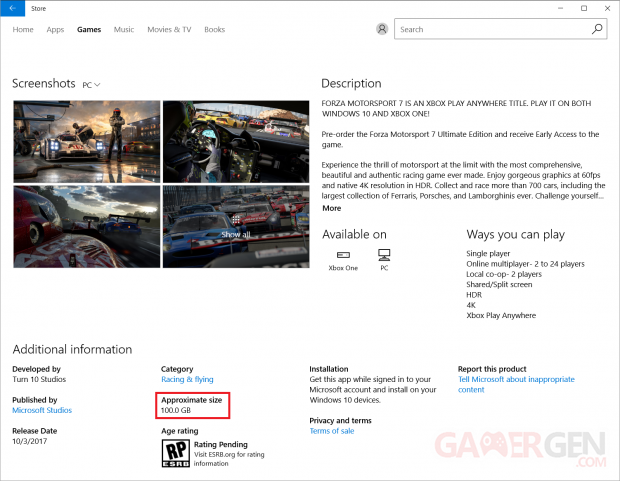 forza 7 download size