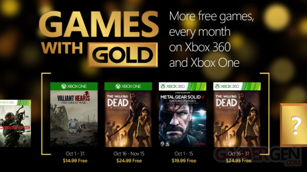 Games With Gold octobre 2015