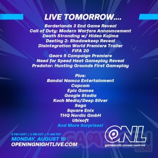 gamescom Opening Night Live programme
