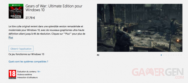 Gears of War Ultimate Edition pour Windows 10