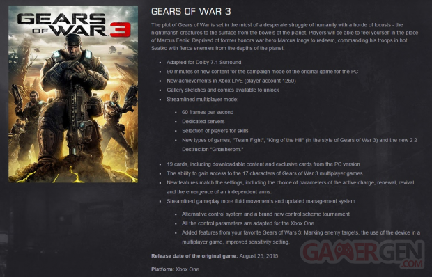 Gears of Wars Remastered