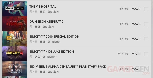 Good Old Games GOG EA Soldes
