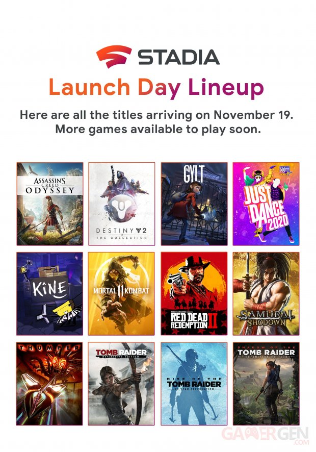 Google Stadia line up lancement 11 11 2019