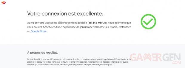 Google Stadia test de connexion speed test débit