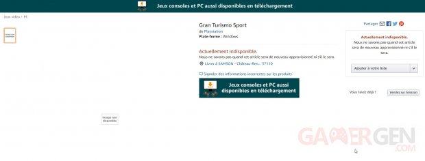 Gran Turismo Sport PC Amazon 15 04 2020