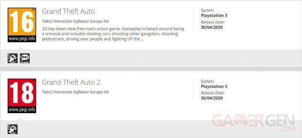 Grand Theft Auto 1 et 2 PS3 PEGI 30 04 2020
