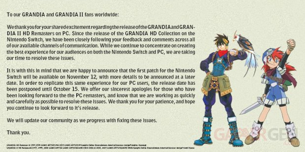 Grandia HD Collection Remaster message head
