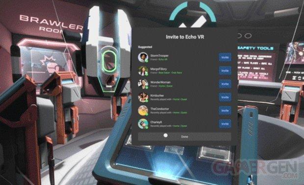 Invitation Depuis bouton Invite Oculus