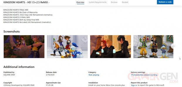 Kingdom Hearts HD 1.5 2.5 Microsoft Store 07 02 2020
