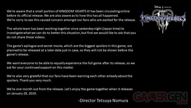 Kingdom Hearts III message Tetsuya Nomura 16 12 2018