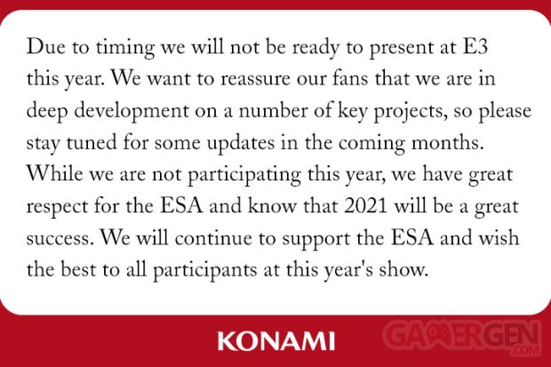 Konami absence E3 2021