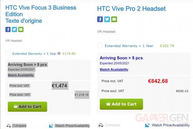 Leak HTC VIVE Pro 2 et FOCUS 3 Business Edition