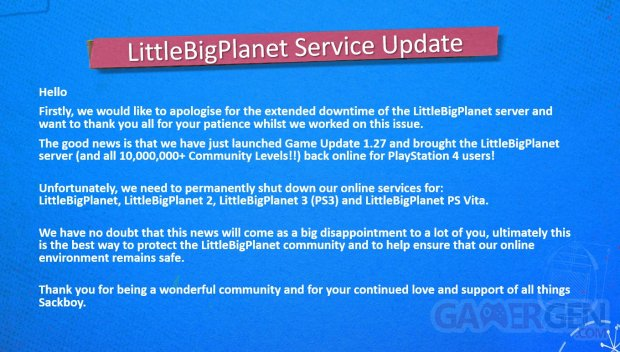 LittleBigPlanet Servers update