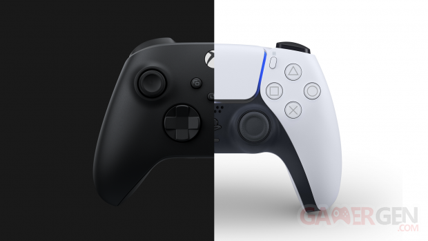 Manette controller PS5 PlayStation 5 Xbox Series X hardware comparaison side by side head banner 2020