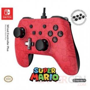 Manette filaire Nintendo Switch Plus Super Mario Rouge et noire (1)