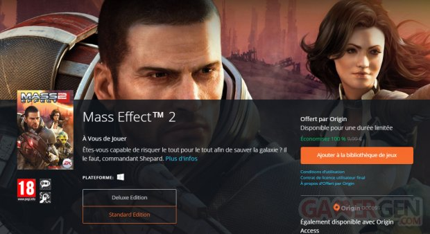 Mass Effect 2 gratuit EA Origin ajouter