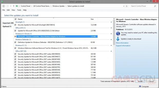 Microsoft Adaptateur sans Fil Xbox One pilote